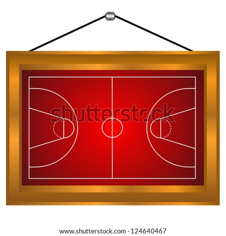 Basketball platform in a frame on a white background