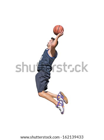 basketball player about to dunk on white background