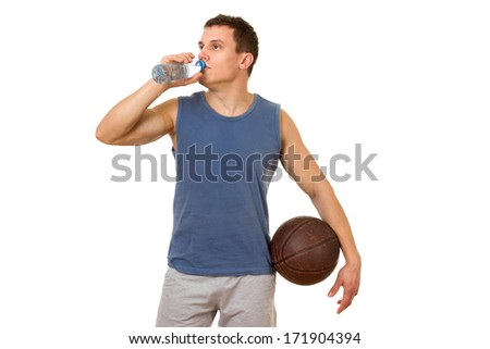 Basketball player drinking water, isolated on white background - stock photo