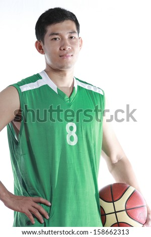 Basketball player hold the ball for his game