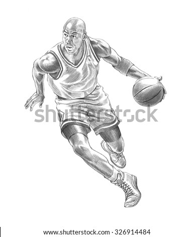 Basketball player in acation black in white - stock photo