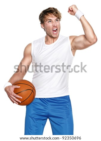 Basketball player isolated celebrating winning holding basket ball isolated on white background - stock photo