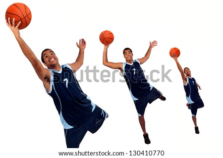 Basketball player isolated in white