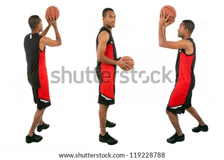 Basketball player isolated in white background - stock photo