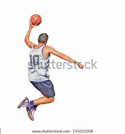 Basketball player isolated on white background - stock photo
