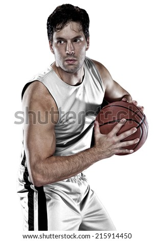 Basketball player on a  white uniform, on a white background. - stock photo