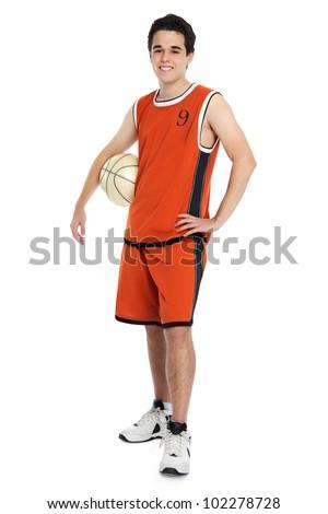 Basketball player on white background - stock photo