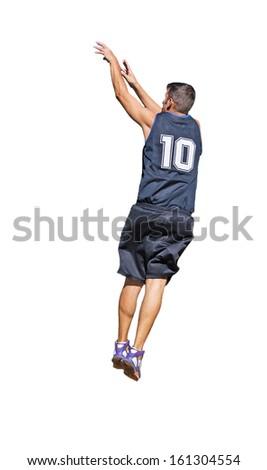 basketball player shooting on white background - stock photo