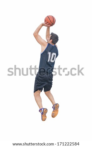 basketball player shooting on white background