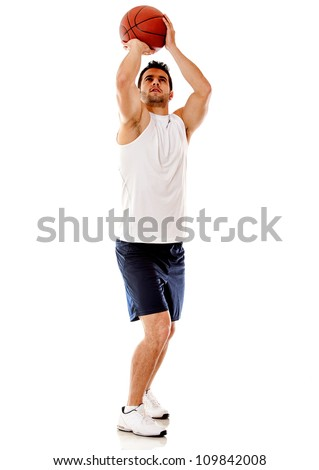 Basketball player shotting - isolated over a white background - stock photo
