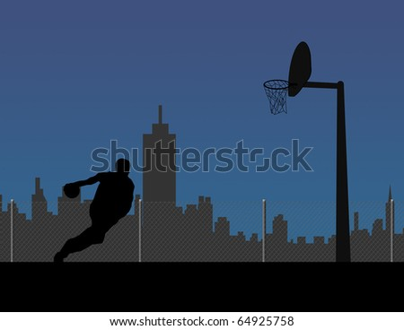 Basketball player silhouette - stock photo