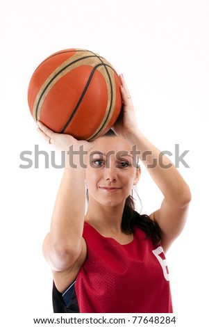 Basketball player with ball, isolated on a white background - stock photo