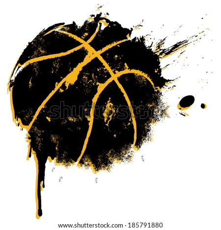 Basketball Print - suitable for posters, flyers, brochures, banners, badges, labels, wallpapers, web design, advertising, publicity or any branding. - stock photo
