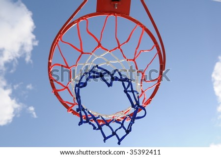 Basketball ring and net in a blue sky background