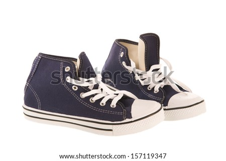 Basketball shoes in dark blue isolated over white background