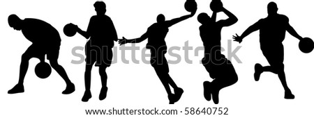 Basketball silhouette - stock photo