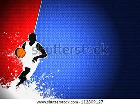 basketball sport man and ball poster color background