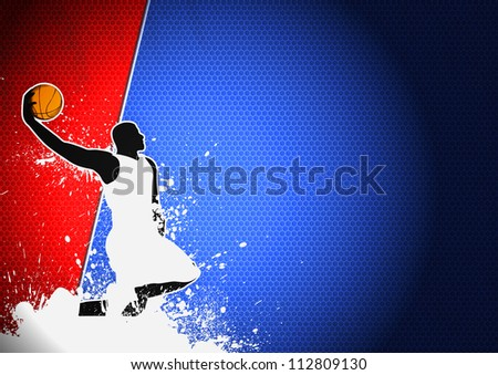 basketball sport man and ball poster color background - stock photo