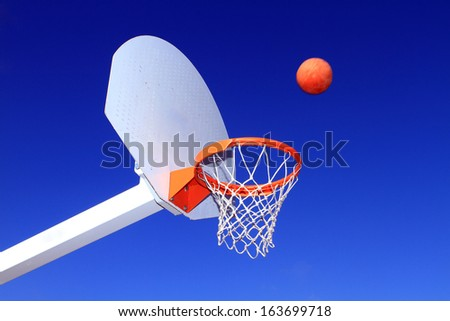 basketball table, colective sport, park - stock photo
