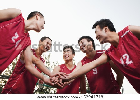 Basketball team gating ready for the game - stock photo