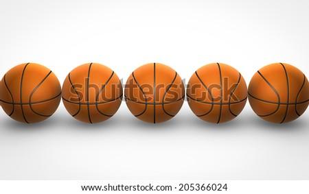 basketballs on white background - stock photo