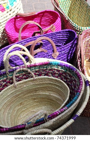 Baskets in Market in Marrakech, Morocco, Africa - stock photo