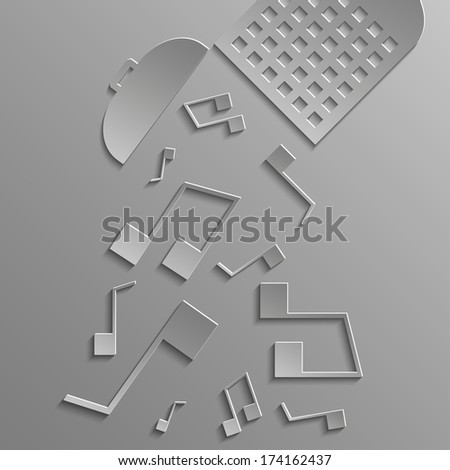 Baskets of drop musical notes on a gray background