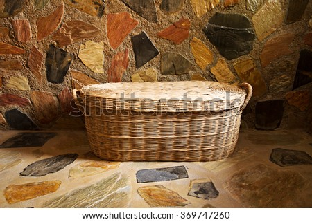 Baskets of towels in the background stone beautiful. - stock photo