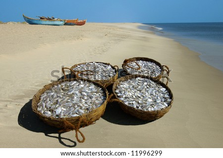 Baskets with a fish on seacoast. - stock photo