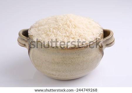 basmati rice in a bowl  - stock photo