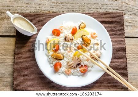 Basmati rice with seafood - stock photo