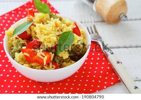 basmati rice with vegetables, food closeup - stock photo