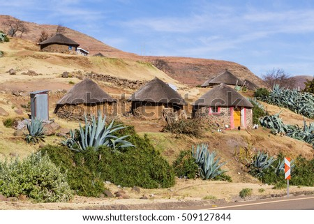 Basotho huts in a small Lesotho village in the dry winter season