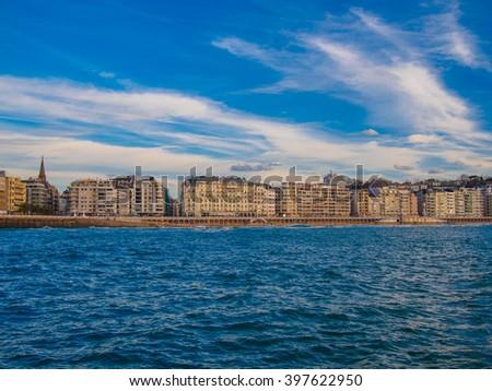 Basque country, Sant Sebastian, sea and houses - stock photo