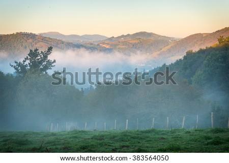 Basque Country Spain Landscape near the Village Orio - stock photo
