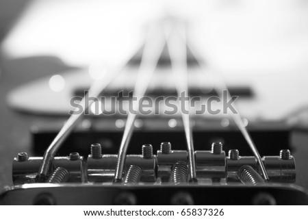 Bass guitar detail - stock photo