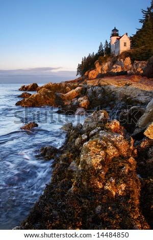 Bass Harbor Head, Light, Mount Desert Island, Acadia National Park, Maine - stock photo
