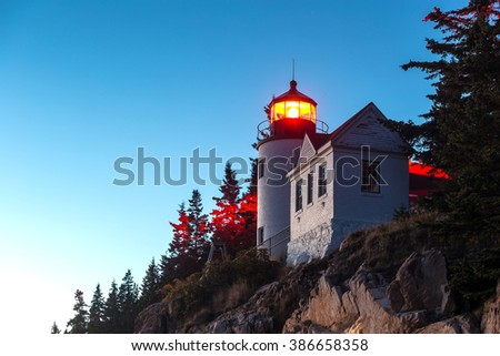 Bass Harbor Lighthouse at sunset Acadia National Park, Maine USA - stock photo