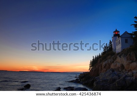 bass harbor lighthouse in Acadia National Park after sunset - stock photo