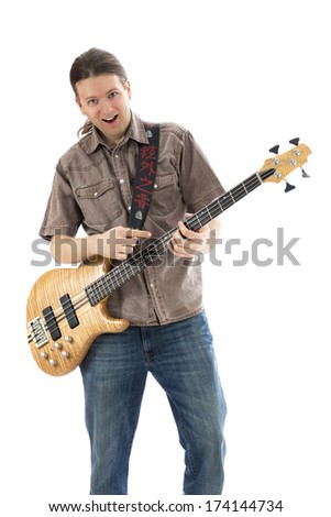 Bass player is playing his bass  (Series with the same model available)