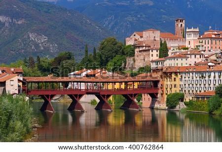Bassano del Grappa Ponte Vecchio in northern Italy - stock photo