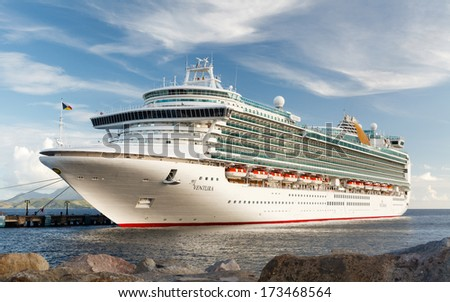 BASSETERRE, ST KITTS - NOVEMBER 5:  P & O cruise ship Ventura docked in Basseterre on November 5, 2013.  The Ventura, whose maiden voyage was in 2008, is the largest ship in the P & O cruise fleet. - stock photo