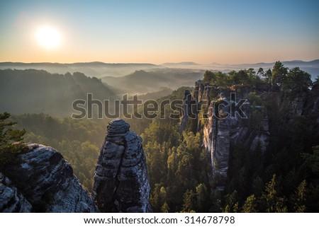 Bastei rock formations, Saxon Switzerland National Park, Germany - stock photo
