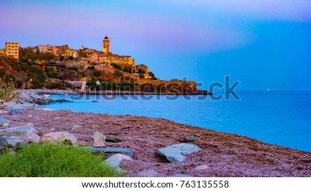 Bastia Old City Center Lighthouse Harbour Stock Photo 755099206
