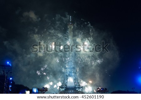 BASTILLE DAY 2016 in Paris, France on July 14th, 2016. Fireworks and the Eiffel Tower on the French National Day in Paris, France on July 14th, 2016, from Field of Mars (Champ de Mars)