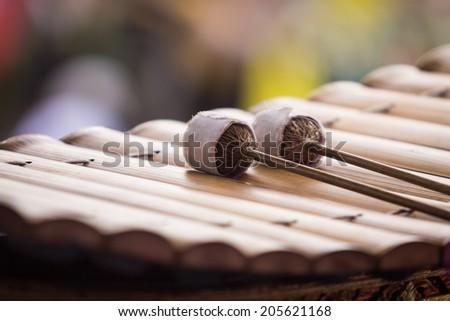 Bat marimba on xylophone - stock photo
