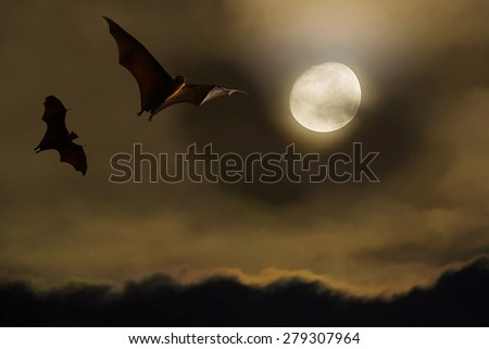 Bat silhouettes with full moon - Halloween festival - stock photo