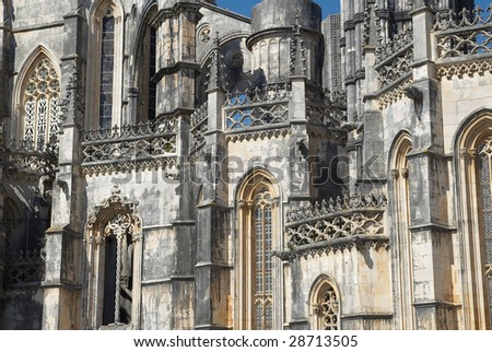 Batalha gothic monastery in Portugal. Gothic monastery of Santa Maria da Vitoria de Batalha, founded in 1388 by the king Joao I. Batalha is classified an UNESCO World Heritage Site.