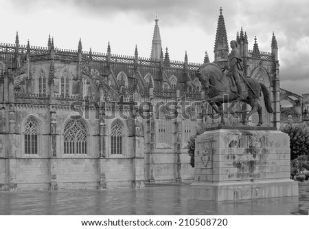 BATALHA MONASTERY AND NUNO ALVARES PEREIRA STATUE, PORTUGAL-May 20th.2014