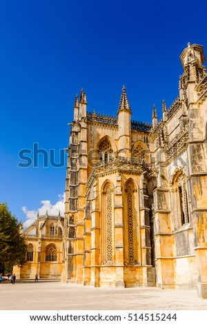 BATALHA, PORTUGAL - OCT 15, 2016: Monastery of Batalha (Monastery of Saint Mary of the Victory). UNESCO World Heritage Site